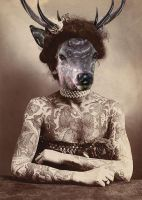 Tattooed Stag women by LadyBoueleena