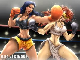 Elisa vs Demona by Sano-BR by ironkobe