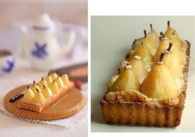 1:12 scale and real pear tart by Almadejonge