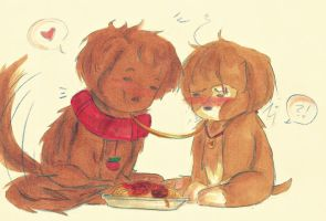 2 Puppies 1 Spaghetti Strand by edwardsuoh13