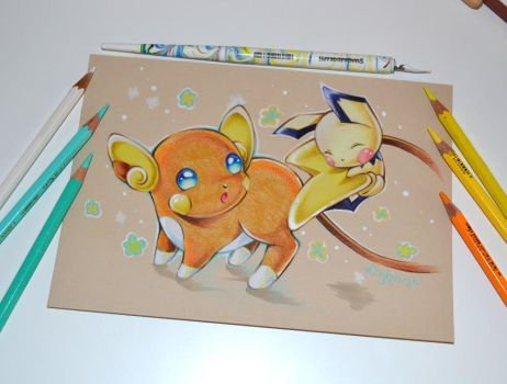 Alolan Raichu with little Pichu by Lighane