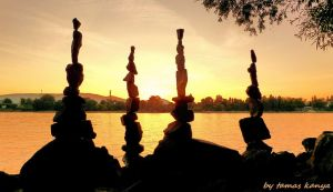 Stone balance in the sunset in hungary by kanya by tom-tom1969