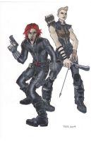 Gender Swapped Black Widow and Hawkeye by TessFowler