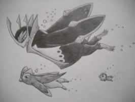 Empoleon, Prinplup, and Piplup by domineir787