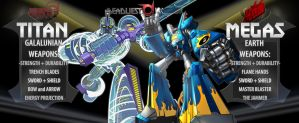 Deadliest Warrior: Titan--vs--Megas by Keroro-Convoy