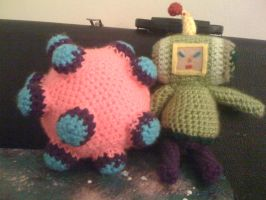 Amigurumi Prince of the Cosmos and Katamari Ball by lovechairmanmeow