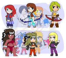 Assorted Chibis - Fusion and Fission by Dragon-FangX