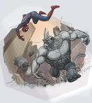 spiderman vs rhino by jimmymcwicked