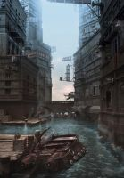 flooded city by Miezis