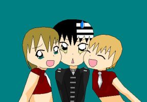 Soul Eater Kid, Liz and Patty chibies 2 by Puffypaw