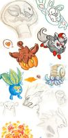 Pokemon sketch dump fall 2013 by Om-nom-nomnivore