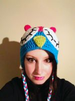 Crochet Pink and Blue Owl Hat by RaindropMelody