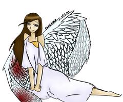 Angel with a broken wing by FluffyGummieBears