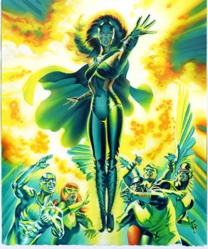 X-Men 50 Cover Recreation Painting by mikemayhew