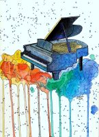 Watercolor piano painting by VlaDePas