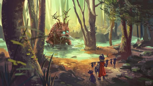 Feeding the Forest Guardian by freakyfir