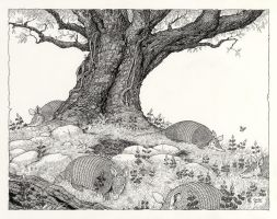 Inktober #27 Oak, Armadillos, and Bluebonnets by ColbyBluth