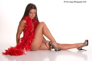 Rudy with red boa, Pin-up by fineimagephotography