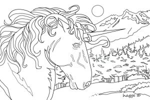 Line Art Unicorn by Hagge
