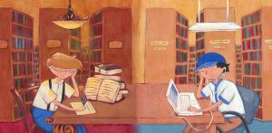 In the Library: Then and Now by Gimmeswords