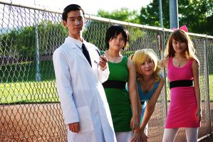 Powerpuff Girls and Prof. Utonium at the Ball Game by Talfryn