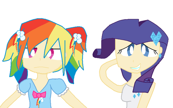Rainbow dash and Rarity by selenapaint