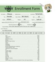 TMNT-U: Mikeya's enrollment sheet 2015 by creativecreamer