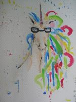 A Smart Unicorn with Glasses by chainbreaks