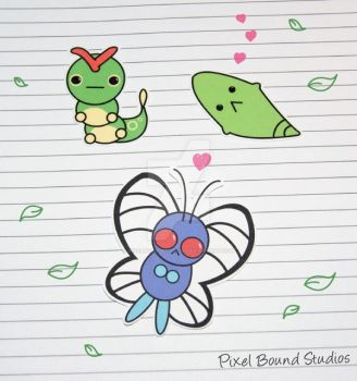 Caterpie/Metapod/Butterfree Stickers by pixelboundstudios