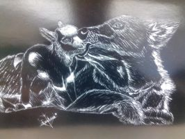 White and Black Scratch Board ~Dog and Baby Goat~ by GoticWhiteAngel