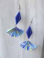 diamond origami earrings accented with origami fan by sakuralu83