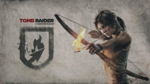 Tomb Raider 2013 - Wallpaper Bow and Fire Arrow by Atomicxmario