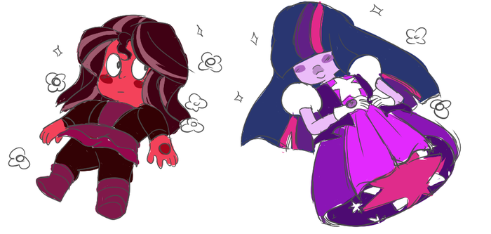 Ruby Shimmer and Sapphire Sparkle by Iesbeans