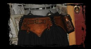 steampunk leather belt pirate by Lagueuse