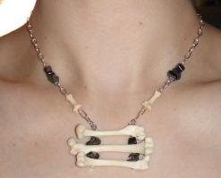 Mink Leg Bones and Hematite Necklace by Magelet