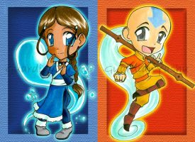 Aang and Katara chibis by GuardianYashu