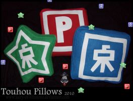 Touhou Power-Ups Pillows by fairy-of-illusions