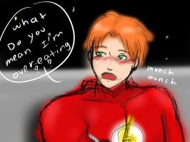 sketch of flash being told he is overeating by young-rain