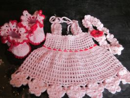 Handmade Baby Crochet Dress, Head Band and Booties by MagicalString