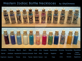 Western Zodiac Bottle Necklaces **For Sale** by OllyChimera