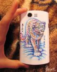 Snow leopard on mobile phone by OmegaLioness