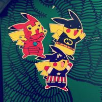 pikachu / iron man, batman, captain america by dance-arcadia