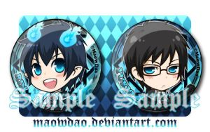 AOEX : Rin and Yukio Buttons by MaowDao