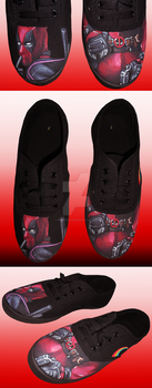 Deadpool Inspired Hand Painted Shoes by DruidicDesigns