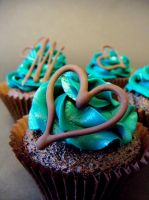 Teal chocolate cupcakes by faerie-folk