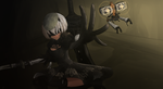 Nier:Automata 2B and Pod, ft. Cryaotic by tenyuukun