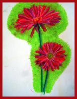 two red gerberas by nyankorita