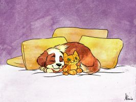 Puppy and his kitty by Mirix