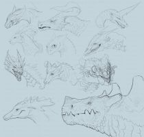 Dragon Sketchlings Sheet Commission Sample by Decadia