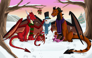 Winter fun commish by Emzietowers. by Thornacious